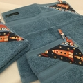 Hand Towel Washers Set of 3 for Kindy/ Preschool -- ROCKETS on Blue
