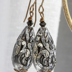 Vintaj Brass and Vintage Lucite Earrings