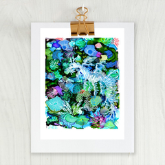 'Leafy Sea Dragon' A4 Reproduction Art Print of original mixed media painting.