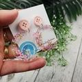 Cherry Blossoms in bloom - pink -  Dangle Earrings - Acrylic - Glitter