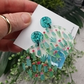 Cactus Garden - Sparkling Teal -  Dangle Earrings - Acrylic - Glitter