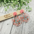 Autumn Blossoms - Peach -  Dangle Earrings - Acrylic - Glitter