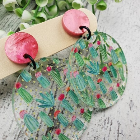 Cactus Garden - pink -  Dangle Earrings - Acrylic - Glitter
