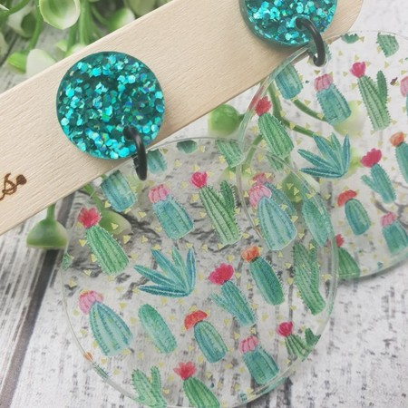 Cactus Garden - Sparkling Teal -  Dangle Earrings - Acrylic - Glitter