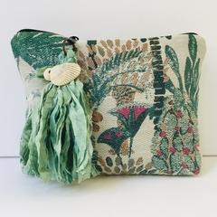 Tropical boho style clutch with sari silk tassel
