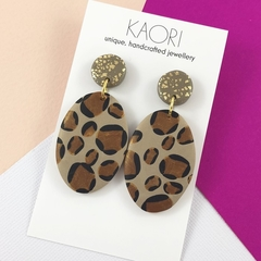 Polymer clay earrings, statement earrings in leopard print gold leaf