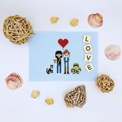 Custom made cross stitch family portraits