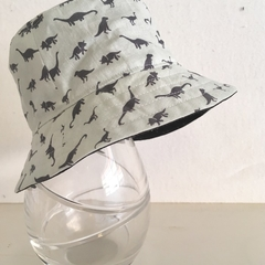 SECONDS- Baby size summer hat in dinosaur fabric