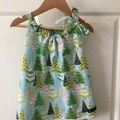 SIZE 1 Girls Christmas DRESS - Snowy Fir Trees