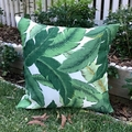 Outdoor cushion cover in Tommy Bahama palm leaf outdoor/indoor fabric