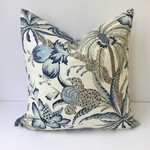 Coastal palm tree blue and white linen cushion cover to fit a 50cm sq fill.