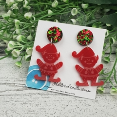 Christmas - Elf - Red -  Drop Dangle Earrings - Hook