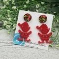 Christmas - Elf - Red -  Drop Dangle Earrings - Hook