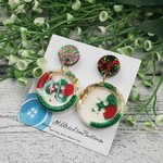 Circle Button Sparkle Christmas - Button - Glitter Stud Dangle earrings