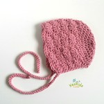 Vintage Dusty Rose Hand Crocheted  Baby Bonnet Beanie Hat Photo Prop 0-3 months