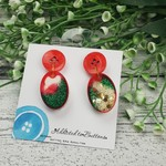 Oval Sparkle Christmas - Button - Glitter Stud Dangle earrings