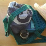 Grocery bags or tote for market shopping, beach or library.
