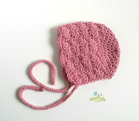 Vintage Dusty Rose Hand Crocheted  Baby Bonnet Beanie Hat Photo Prop 0-3 months
