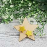 Gold Sparkling Stars - Stud Earrings - Glitter