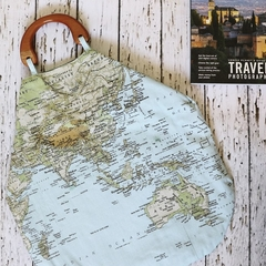 World map handbag - travel bag - tote bag - beach bag - grocery bag
