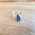 green boulder opal  silver ring, large Size AU R