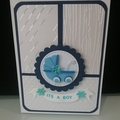 Baby Boy Card - Embossed Pearlised Card Stock