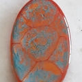 Fascinating Red and Blue Oval Pendant