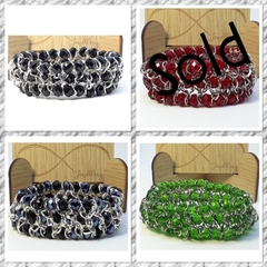Green, Red or Black Elastic Bead and Chain Bracelet