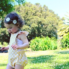"Gingham lemon""Romper""size 1"