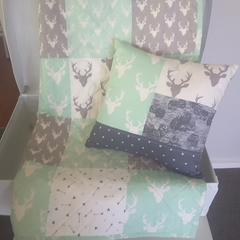Grey & Mint woodland baby quilt