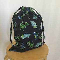 'DINO STOMP Navy' Drawstring Bag / School Library or Kindy Sheet Bag