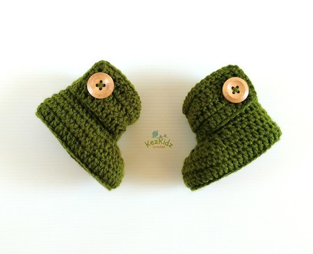 Forest Green Handmade Crochet Baby Booties Pregnancy Announcement Baby Reveal