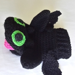 Dragon black hand puppet, Toothless crochet glove puppet.