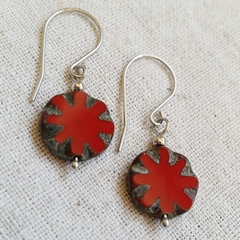 FREE POST Rustic Red flower Czech glass bead earrings