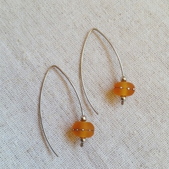 FREE POST Frosted bright orange lampwork glass bead earrings