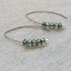 FREE POST Aquamarine Czech glass bead earrings