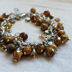 FREE POST Rustic brown Czech glass bead charm bracelet