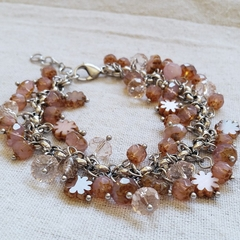 FREE POST Rustic pink Czech glass bead charm bracelet