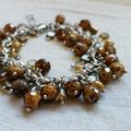 FREE POST Rustic brown Czech glass bead charm bracelet