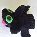 Dragon black hand puppet, Toothless crochet glove puppet.