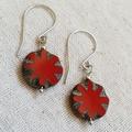 FREE POST Rustic Red flower Czech glass bead earrings
