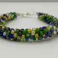 Kumihimo Bead  Bracelet Yellow Green Blue Clear