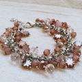 FREE POST Rustic pink Czech glass bead charm bracelet