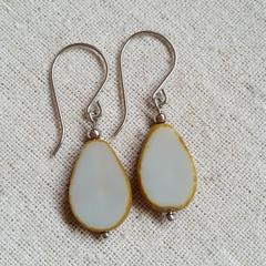 FREE POST Grey Czech glass bead earrings