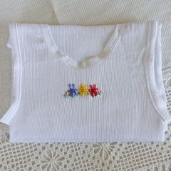 Baby singlets, hand embroidered rabbits ,