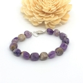Amethyst  Gemstone Bracelet with Love Heart clasp Hand Knotted