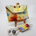 Coin Pouch or purse with Cable Wrap - Floral design + small wrap