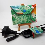 Coin Pouch or purse with Cable Wrap - Hibiscus design + medium wrap