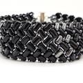 Black and hematite Silver Herringbone Beaded Bracelet Formal Trendy Boho
