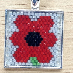 Red Poppy Flower  Beaded Pendant Necklace Square Grey